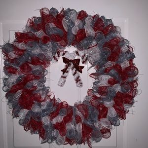 Hand crafted candy cane mesh Christmas wreath